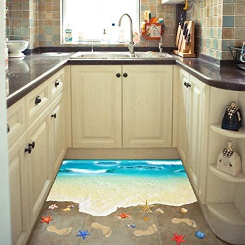 YLBHD Originalidad Playa 3D Pegatina de Pared póster Naturaleza baño decoración Cocina Suelo Pegatinas guardería Pared calcomanías Impresiones Mural Arte de Pared