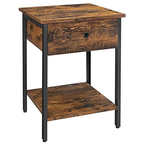 VASAGLE Nachttisch, Nachtkommode, Beistelltisch mit Schublade und Ablage, Nachtschrank, Schlafzimmer, Wohnzimmer, einfacher Aufbau, Industrie-Design, vintagebraun-schwarz LET55BX