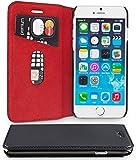 WIIUKA Echt Ledertasche - TRAVEL - für Apple iPhone 8 Plus und iPhone 7 Plus mit Kartenfach, extra Dünn, Tasche RED Edition, Schwarz Rot, Leder Hülle kompatibel mit iPhone 8 Plus / 7 Plus