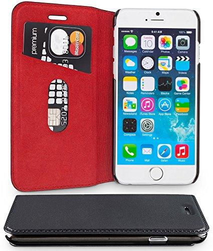 WIIUKA Echt Ledertasche - TRAVEL - für Apple iPhone SE (2020), iPhone 8 und iPhone 7 mit Kartenfach, extra Dünn, Tasche RED Edition, Schwarz Rot, Leder Hülle kompatibel mit iPhone SE/8/7