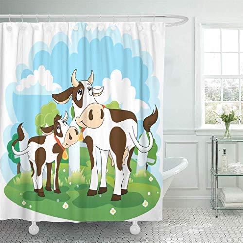 N\A Tenda per Doccia Cartoon Farm Mucca e Vitello Animali Campana Prodotti lattiero-caseari Set di Tende per Doccia con 12 Ganci Tessuto in Poliestere Impermeabile