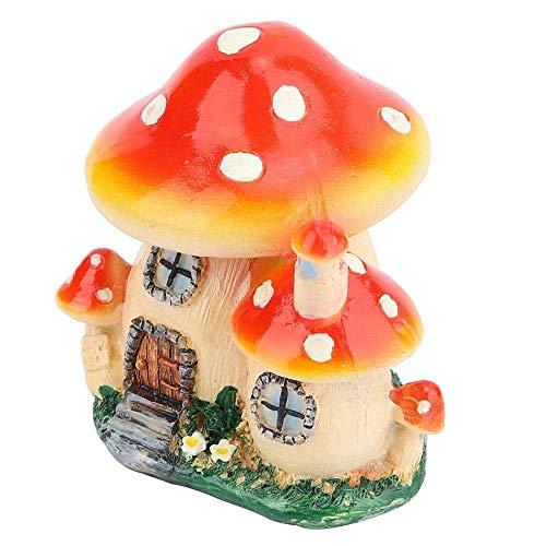 Duokon miniatuur bloempotten fee poppenhuis hars paddenstoel huis tuin ornament kamer gazondecoratie (steen raam rood geel huis)
