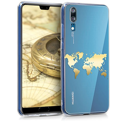 kwmobile Hülle kompatibel mit Huawei P20 - Handyhülle - Handy Case Travel Umriss Gold Transparent