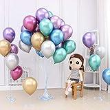 50 Stück Luftballons Metallic,Bunt Verchromte Helium Ballons 6 Metallischen Farben Metallfarbe Dekoration für Vintage Jugendweihe Junge Geburtstag JGA Party Deko (Gold Silber Blau Grün Rosa Lila) - 4