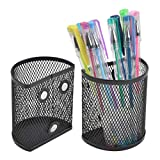 TIMESETL 2 Pack Magnetic Pencil Holder, Semicircle Metal Mesh Basket Storage Organizer, Perfect to Hold Whiteboard, Dry Erase Markers, Refrigerator and Locker Accessories