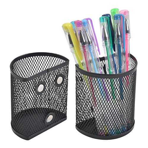 TIMESETL 2 Pack Magnetic Pencil Holder Semicircle Metal Mesh Basket Storage Organizer Perfect to Hold Whiteboard Dry Erase Markers Refrigerator and Locker Accessories