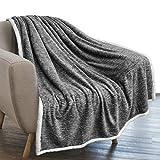 PAVILIA Melange Sherpa Blanket Throw Charcoal Dark Grey   Soft, Fluffy, Microfiber Fleece Blanket for Couch Sofa   Warm Fuzzy Luxury Modern Plush Blanket,50x60 Inches