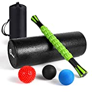 Odoland 6-in-1 Large Size Foam Roller Kit with Muscle Roller Stick and Massage Balls, High Density for Physical Therapy, Deep Tissue Trigger, Pain Relief, Myofascial Release, Balance Exercise Home Gym