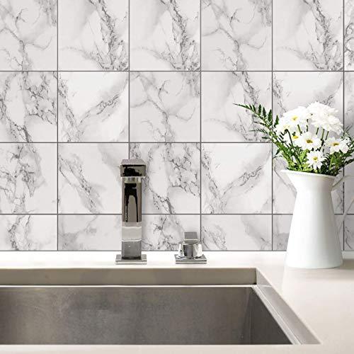 Tegelstickers, marmer, tegelstickers, zelfklevend, tegels, decoratie, sticker, badkamer, keuken, steen-look, bloemen, muur-art 10x10 cm (10er Set) grijs