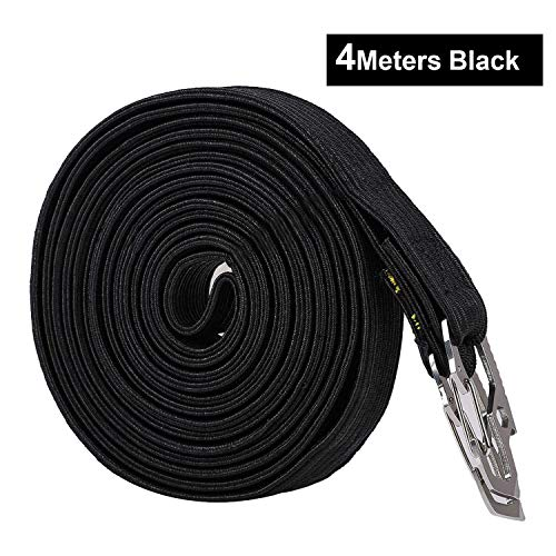 Elasticated Bungee Cord, 2 & 4 Meter Length Adjustable Elastic Luggage Straps Ropes Belts with Carbon Steel Hook for Outdoor Activities, Fastening Luggage and Backpacks, 4 Colors