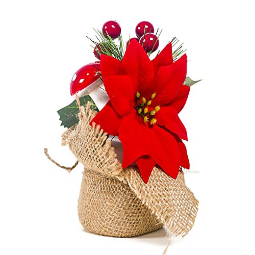 Árbol de Navidad en miniatura de con bayas decoración de cono de pino Adorno de mesa navideña Balight