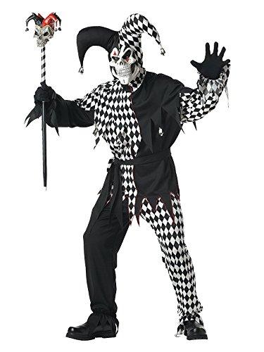 KULTFAKTOR GmbH Böser Clown-Kostüm für Herren Harlekin Halloween-Kostüm schwarz-Weiss XL