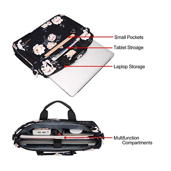 MOSISO Laptop Shoulder Bag Compatible with MacBook Pro/Air 13 inch, 13-13.3 inch Notebook Computer, Polyester Messenger… 4 Internal Dimensions: 18.3 x 1.57 x 14.17 inches (L x W x H); External Dimensions: 18.9 x 1.57 x 14.57 inches (L x W x H). Removable and adjustable padding shoulder strap with anti-slip shoulder pad varied from 27 inch to maximum 47 inch and dual sturdy handles for long time comfortably carrying, top handles also can tuck away in the pockets when not needed. The extra zipper at the bottom bag can widen the depth up to 2.76 inch when you need. Features a polyester foam padding layer and soft fabric lining for bump and shock absorption. The soft fabric lining provides protection against accidental scratches.