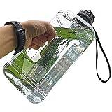FORWEWAY Groß Trinkflasche 2,2 Liter, BPA Frei Auslaufsicher Sport Wasserflasche mit Tragegriff für Gym Bodybuilding Outdoor Sport Büro