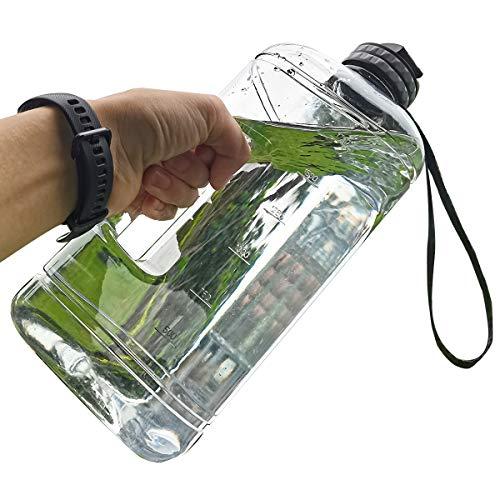 Forweway Botella de agua de medio galón 2.2L botella de agua grande para deportes al aire libre, hogar (transparente)