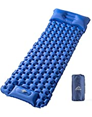 Elegear Sleeping Pad Camping Air Mattress with Pillow, Ultralight Built-in Foot Pump Inflating Compact Mats for Hiking Fishing Backpacking Car Tent Travel with Carry Bag -Single