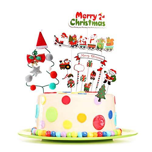 Elinala Decoración de la Torta Santa, Decoracion para Tartas Infantiles, Decoración de Pastel de Navidad Reutilizable de 12 Piezas, Decoración Temática de Fiesta de Navidad para Adultos y Niños