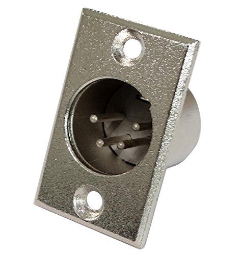 AERZETIX: 2X Conector Enchufe XLR 4 Pines Macho Ø19mm para