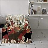Blanket Warm Antler Winter Warm Throw Blankets Reindeer Caribou Wildlife Great for Outdoor Use 70x84 Inch
