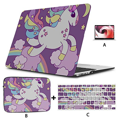 MacBook Air 13 Accessories Sweet Cartoon Unicorn Child and Baby Laptop Case Hard Shell Mac Air 11'/13' Pro 13'/15'/16' with Notebook Sleeve Bag for MacBook 2008-2020 Version