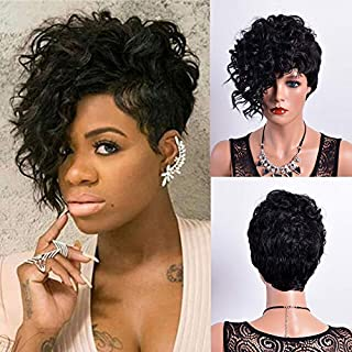 FCHW Short Curly Wigs for Black Women Fluffy Wavy Black Synthetic Hair Wig Natural Looking Wigs Heat Resistant Wigs with W...