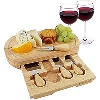 Queso Junta Set por starblue – con 4 cuchillos y madera de roble con cajón   gran queso y plato para servir de corte de plato bandeja   mejor para inauguración de la casa y regalo de cumpleaños