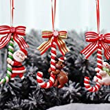 VSTAR66 Colgante de árbol de Navidad, 3 piezas 2020 personalizado adorno de Navidad, bastón de caramelo de arcilla con muñeco de nieve, Santa, Alce, decoración para árbol, chimenea