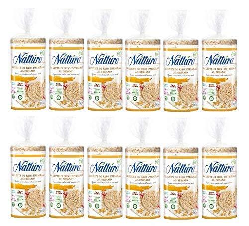Nattura Gallette di Riso Integrale al Sesamo Biologiche Senza Glutine Fonte di Fibre - 12 x 130 Grammi