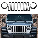 JeCar Front Grill Inserts & Headlight Cover Kit for 2018-2021 Jeep Wrangler JL & Unlimited