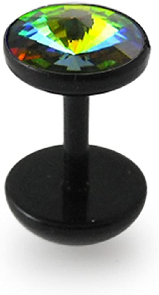 New popularity Crystal Stone Flat Top with Black UV Dome IP Plugs Fake Dumbbell security