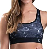 Aqua Design Sports Bras for Women: Workout Racerback Sport Bra Womens Top, Black Water, Size Large