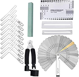 Guitar Bass Luthier Tool Kit Set with 9pcs Understring Radius Gauge + 32 Blades Steel Feeler Gauge + String Action Gauge Ruler + String Winder Cutter + 2 Fingerboard Guard Protectors + Grinding Stone