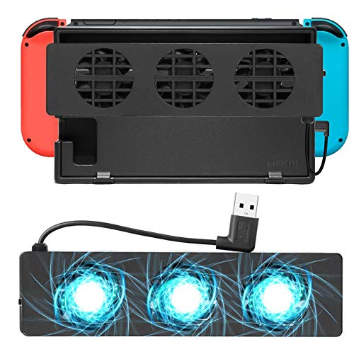 Linkstyle Ventola di Raffreddamento, Esterno USB Power Raffreddamento per Ventola Docking Station con 3 Piccoli ventilatori Super Turbo