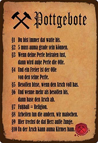 Blechschild 20x30cm gewölbt Pottgebote Ruhrpott Gebote Vintage Deko Geschenk Schild