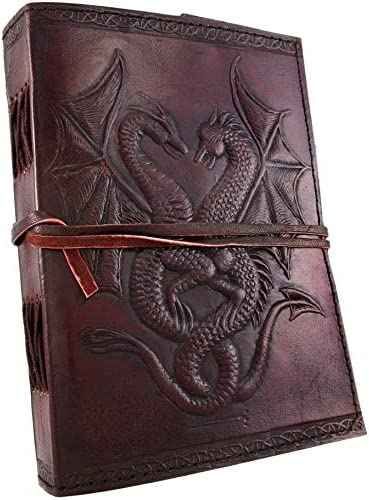 18. Double Dragon Handcrafted Leather Blank Page Book