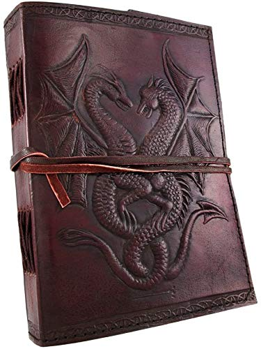 DOUBLE DRAGON Blank Page BOOK Handcrafted Leather Writing Unlined 5 x 7 JOURNAL (Brown)