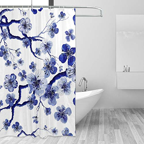 Longing Fashion Watercolor Oriental Flowers Shower Curtain for Bathroom with 7-12 Hooks 55x72 Inch Polyester Fabric Machine Waterproof Shower Curtains Set
