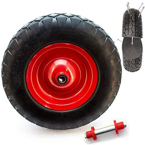 Schubkarrenrad Vollgummi - 4.80 4.00-8 Vollgummireifen für die Schubkarre Universal Einsetzbarer Schubkarren-Reifen mit Präzisionskugellager PU auf Stahlfelge mit 200kg Traglast