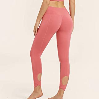 Elastic Tight High Waist Lift Hip Quick Dry Running Pants Yoga Pants Women,Pink(L)