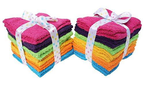 J&M Home Fashions Premium 24-Piece Bulk Pack Cotton Washcloth Set, 12x12, Bright Rainbow