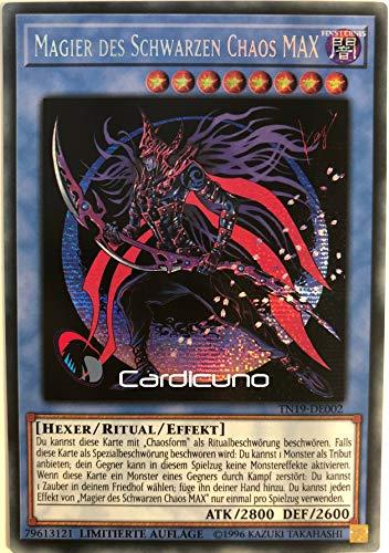 Magier des schwarzen Chaos MAX - TN19-DE002 - Prismatic Secret Rare - Yu-Gi-Oh! - Deutsch - Limitierte Auflage - Mit Toploader - Cardicuno