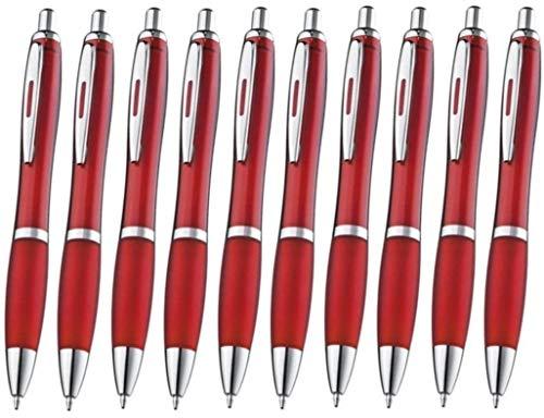 Libetui 10-er Pack Kugelschreiber rutschfeste Griffzone Großraumine Blau Kuli blauschreibend Gehäuse Farbe Rot