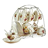 ufengke 15 Piece European Ceramic Tea Sets,China Coffee Set with Metal Holder, White and Red Rose Flower Painting