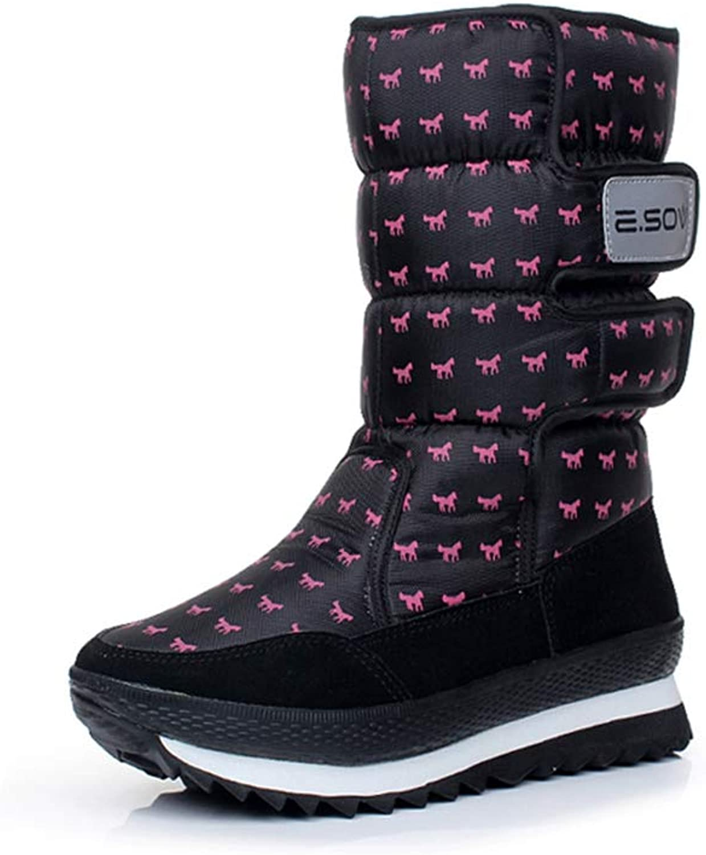 Woman Snow Boots Non-Slip Sole Low Heel Hook & Loop Waterproof Plush Winter Keep Warm Female Mid Calf Boot