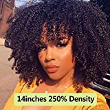 CBL 250 Density Afro Kinky Curly Front Lace Human Hair Wigs With Bangs Short Bob Lace Front Wig For Woman Full 4b 4c Dolago Black 10 polegadas Natural Color