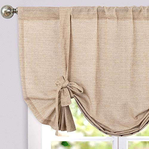 jinchan Tie Up Valance for Kitchen Room Linen Textured Adjustable Tie-up Curtain Light Filtering Rod Pocket Drapes 1 Panel 45 Inch Taupe