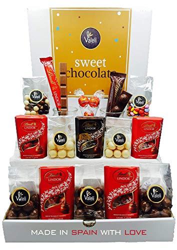 Valeli, Chocolates, Bombones Lindt Lindor y chocolatinas. Caja Regalo Original. Cesta surtido: Día del padre, madre, cumpleaños, enamorados, Navidad; 650gr.