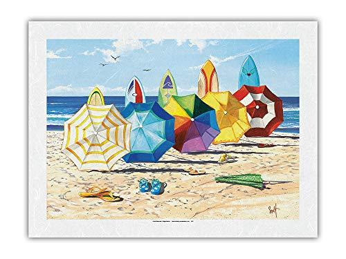 Pacifica Island Art Sombrillas y tableros - Sombrillas de Playa y Tablas de Surf - De Pintura en Color de Scott Westmoreland - Impresión de Arte Papel Premium de Arroz Unryu 61x81cm