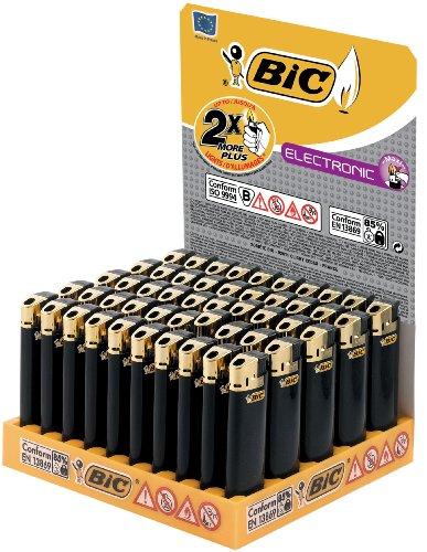 BIC Feuerzeug Electronic J38, gold, 50er Packung, 1er Pack (1 x 50 Stück)