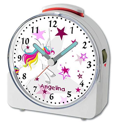 CreaDesign, WU-71-1129-02, Einhorn Rosa, analog Kinderwecker weiß, Funkwecker mit Sweep-Uhrwerk und fluoreszierenden Zeiger und Licht, personlisiert mit Namen, 10,2 x 4,6 x 11 cm